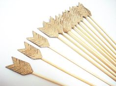 Set of 24Pcs - Double Sided Gold Glitter Arrow on 8inch Stir Stick OR Skewer - Birthday, Baby Showers, Weddings, Drink, Party Srit Sitck