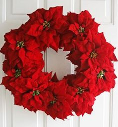 This Breathtaking Poinsettia Wreath will have all your friends and family clamoring to know where you got it. You might be surprised that this DIY wreath is actually made of fake poinsettias. Poinsettia Wreath, Christmas Poinsettia, Noel Christmas, Christmas Projects, Christmas Ornaments, White Christmas, Large Christmas Wreath, Canada Christmas, Christmas Flowers