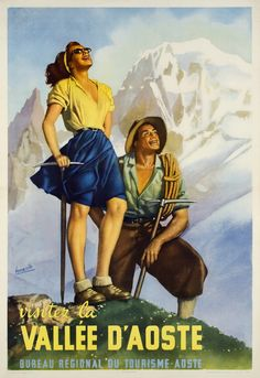 Gino Boccasile - Original Vintage Travel Poster Ft Hiking In The Aosta Valley Alps Vallee D'Aoste Retro Poster, Vintage Travel Posters, A4 Poster, Poster Wall, Poster City, Bright Summer Outfits, Illustrations Vintage, Aosta Valley, Smiling Man