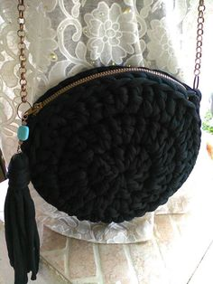 Round purse/bag black Crossbody Round Crochet by JustForYouhm