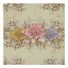 Three Flowers, Vintage Country Floral Poster