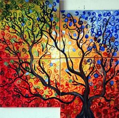 Original Abstract Whimsical Landscape Painting of a Tree through Seasons ENJOY…