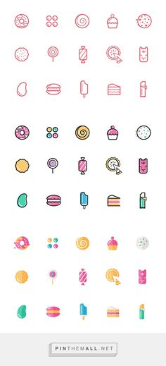 Candy Icons on Behance - created on Doodle Inspiration, Layout Inspiration, Icon Design, Logo Design, Graphic Design, Logo Dulce, Symbole Tattoo, Candy Icon, Sweet Logo