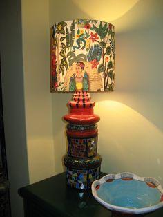 Frida lamp ceramic glaze and mozaic