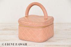 CHANEL Pink Leather Matelasse Vanity Cosmetic Bag