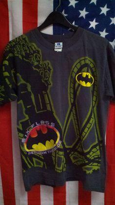 913a5612910 90 s Batman the ride t-shirt size large D.C Comics 1995 Six Flags Theme  Park official Texas Kentucky amusement parks Robin