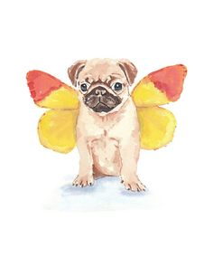Pug Dog Watercolor PRINT  5x7 art Print by WaterInMyPaint on Etsy