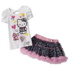 Hello Kitty Poodle Tee & Zebra Scooter Set - Size 5 NWT Girls #HelloKitty #Everyday