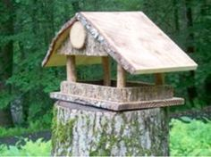 She collected the bark from a peeling birch tree in the woods and glued it to the bird feeder.