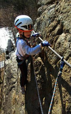 Climbing via ferrata - Secured all the time while climbing. Rappelling, Czech Republic, Bicycle Helmet, Climbing, Riding Helmets, Adventure, Cycling Helmet, Mountaineering, Adventure Movies