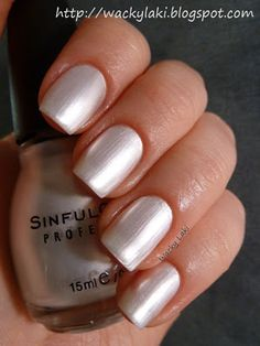 Sinful Colors - Tokyo Pearl Love the color, different nail shape though Sinful Colors Nail Polish, Nail Polish Dupes, Essie Nail Colors, Gel Polish, Nail Polishes, Cute Nails, My Nails, Glamour Nails, Pretty Nail Art