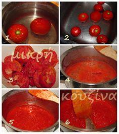 μικρή κουζίνα: Πώς φτιάχνουμε πελτέ ντομάτας Canning Recipes, Cookbook Recipes, Greek Recipes, Food And Drink, Tasty, Jar, Vegetables, Cooking, Sauces