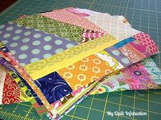 """Calling All Scrap Lovers! An Improv Piecing Tutor. """"My Quilt Infatuation: Calling All Scrap Lovers! An Improv Piecing Tutorial. Nice intro to improv scr Scrappy Quilt Patterns, Scrappy Quilts, Easy Quilts, Patchwork Quilting, Crazy Patchwork, Chevron Quilt, Crazy Quilting, Quilting For Beginners, Quilting Tutorials"""