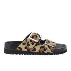 Senso Women's Ida III Pony Hair Slide Sandals - Leopard