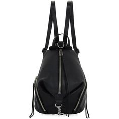 Rebecca Minkoff Julian Medium Leather Backpack ($245) ❤ liked on Polyvore featuring bags, backpacks, black, leather knapsack, leather daypack, tassel bag, backpack bags and rebecca minkoff backpack