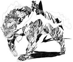 Tentative de dessin inspiré par les monstres mythologiques de Katsuya Terada. Très fastidieux à réaliser et un résultat au deçà de mes espér...
