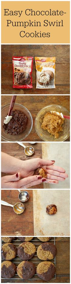 Can't decide whether to bake something with chocolate or pumpkin? These easy cookies combine the best of both into one, and  15 minutes of prep time is all it takes! To make, follow the step-by-step directions linked here, but sub in Pumpkin Spice and Double Chocolate Chunk cookie mixes  for the Snickerdoodle and Gingersnap. So simple and so good!