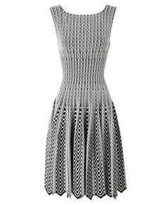 AZZEDINE ALAÏA  Python Blister Knit Dress with Full Skirt  £2,215  Warm beige and white or black and white stretch knit dress with embossed python pattern by Azzedine Alaia. Round neck; scoop back. Sleeveless.. Defined waist. Full, fluted skirt. Concealed zip closure in the back. Pointed hem. Unlined. Dry clean only.
