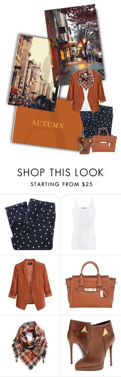 """""""Polka dot and plaid"""" by priscilla12 ❤ liked on Polyvore featuring Sessùn, Vince, H&M, Coach, BP. and Giuseppe Zanotti"""
