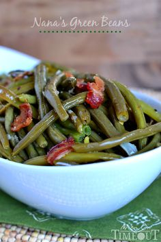 These are my Nana's Famous Green Beans!  One of the most requested recipes from my family - year-round! | MomOnTimeout.com