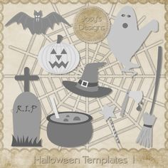 Halloween Templates 1 by Josy Carson, commercial use, layered PSD, illustration, scrapbooking,