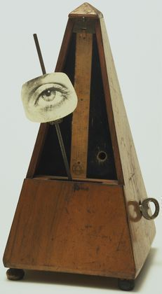 """Man Ray. Indestructible Object (Object to Be Destroyed),1964 replica of 1923 original.""""At an exhibition in 1957, a group of protesting students took Man Ray at his word by destroying it; Man Ray eventually reconstructed and renamed the work Indestructible Object."""
