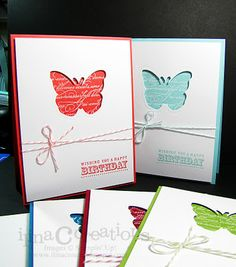 Because I was using Stampin' Up, I had to change my butterfly a tad. I used the Butterfly punch and put it at the bottom center of the page, with a tag at the top with a ribbon.  It worked!