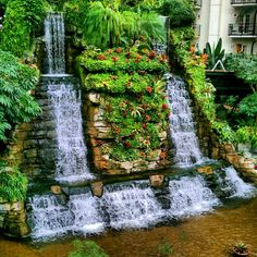 Waterfall inside the hotel at Gaylord Opryland Resort Photo by iamstevenl • Instagram
