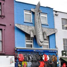 Plane on a shop, Camden Town, London, England