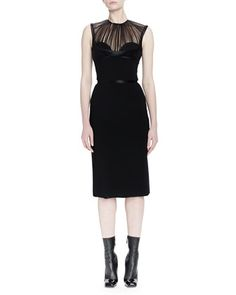 Pleated Tulle Bustier Sheath Dress by Alexander McQueen at Neiman Marcus.