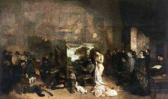 """Gustave Courbet, """"L'Atelier del pittore: una vera Allegoria di una Fase di Sette Anni nella mia Vita Morale e Artistica"""", 1855, olio su tela. Parigi, Musée d'Orsay"""