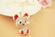 Chic Rhinestoned Colored Glazed Rabbit Pendant Necklace For Women