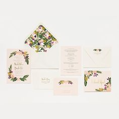 """Brides.com: 28 Floral Wedding Invitations """"Beverly Hills"""" wedding invitation suite, price available upon request, Rifle Paper Co.Photo: Courtesy of Rifle Paper Co."""