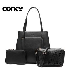 brand 3 sets women handbag casual artificial leather tote bag large shoulder bags+ladies solid handbags+small purse