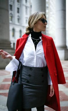 red wool long coat, grey double-breasted pencil skirt, statement bell sleeve bow tie white button down collared shirt, classic work tote, layered black turtleneck, statement silver necklace