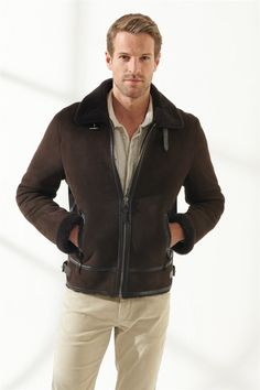 ROBERT Men Aviator Brown Shearling Jacket Black Noble   Luxury Shearling Black Shearling Jacket, Shearling Coat, Leather Jacket, Collor, Zip Ups, Pilot, Aviation, Men Casual, Pure Products