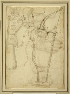 Antonio Pisano, called Pisanello Italian, c. 1455 Bowcase and Quiver of Arrows, 1438 Pen and brown ink on ivory laid paper 189 x 265 mm Leather Quiver, Leather Art, Mounted Archery, Medieval Furniture, Bow Cases, Archery Equipment, Traditional Archery, Medieval Life, Historical Art