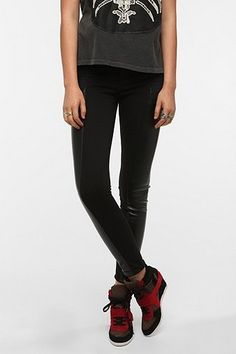 Sparkle & Fade Moto Ponte Knit And Faux Leather Pant