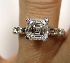 Exquisite 1.46ct Estate Vintage Asscher Cut Diamond Platinum Ring..GIA Cert G VS1.