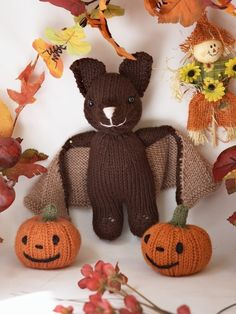 50 off Bat and Jack O' Lantern Knitting Pattern by fuzzymitten