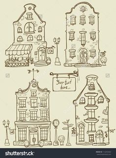 Hand drawn old houses, old town, sketch, #doodles, isolated