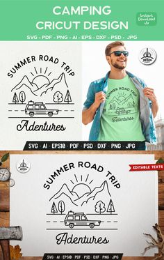 Vinyl Craft Projects, Silhouette Cameo Tutorials, Line Art Design, Road Trip Adventure, Cricut, Make Your Own Stickers, Craft Stickers, Family Road Trips, Vintage Theme