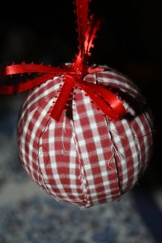 Fabric Rag Country Christmas Ornaments by AnneReneeCreations