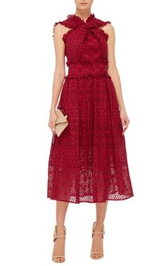 Red Eyelet Cotton Cr