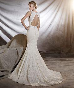 ORNANI - Vestido de noiva com decote em barco, elaborado com renda
