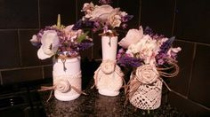 Vintage lace painted bottles twine wrapped tops -wedding table decor shabby chic vintage