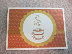 "Card using Fiskars ""Latte Lovers"" stamp set,ribbon embellishment, Copic colored."
