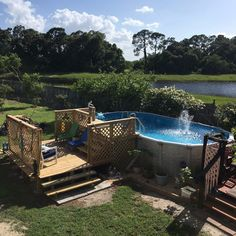 After a couple of summers of navigating the ladder that came with the pool, and falling off more then once, we decided it was time to build a pool deck.  The de…
