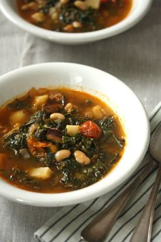 The Balanced Diet: Portuguese Kale Soup (Caldo Verde) with Linguica and Cherry Tomatoes