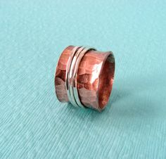 Spinner Ring - Copper with Sterling Silver Spinners - Made to Order in Your Size on Etsy, $50.00